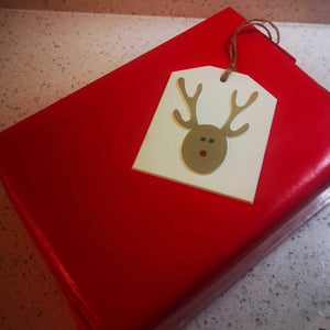 """Reindeer"" Gift Tag - Hand Made - Pack of 5"