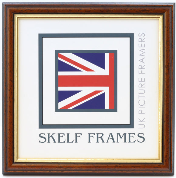 Dark Wood Gold Inlay Square Frame