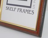 Dark Wood Frame With Gold Inlay Multi Aperture 20 x 10 Inches - With Glass Frame