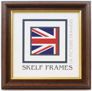 35mm Dark Wood Gold Inlay Square Frame With Glass