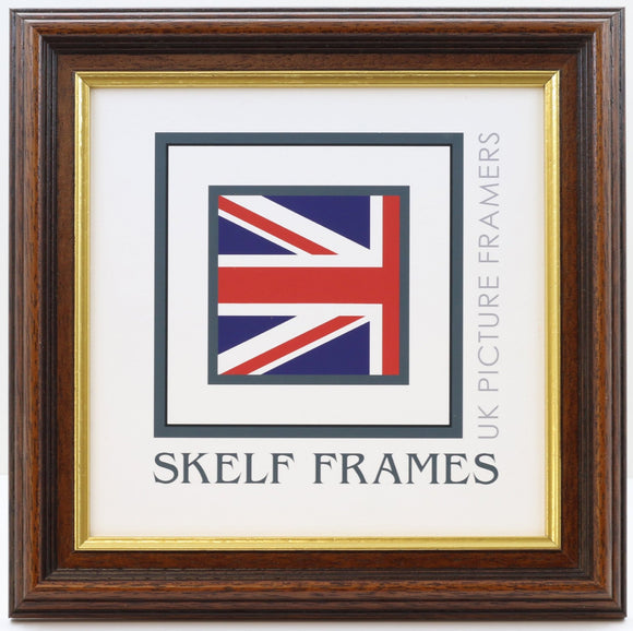 35mm Dark Wood Gold Inlay Square Frame