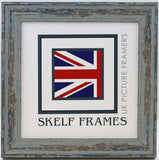 Shabby Blue Square Frame with Glass