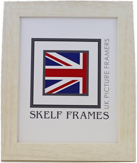 Wide Driftwood Effect White Wood Frame - Metric