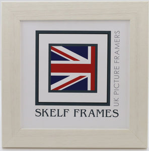Wide White Driftwood Square Frame With Glass
