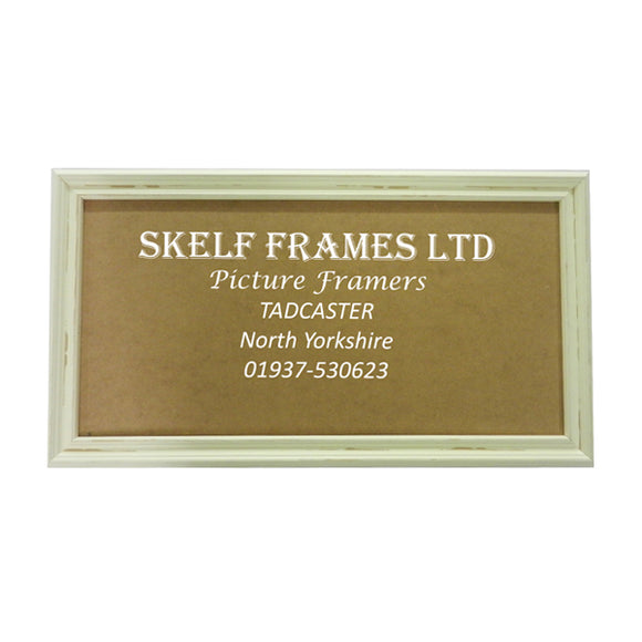 Distressed Off-White Wood Panoramic Frame with Glass