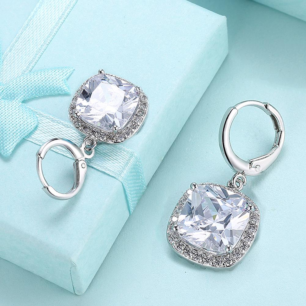 Halo Cut Pav'e Simulated Diamond Earrings - 18K White Gold