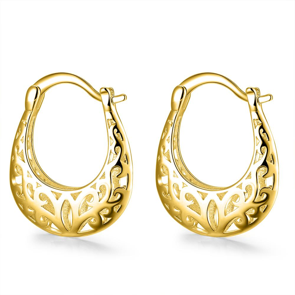 Filigree French Lock Earrings - 18K Gold Plated