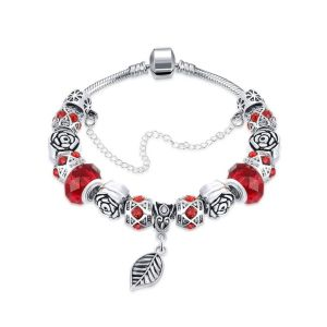 Dark Ruby Red Leaf Branch Pandora Bracelet