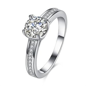 Filigree Solitaire Engagement Ring - 18K White Gold