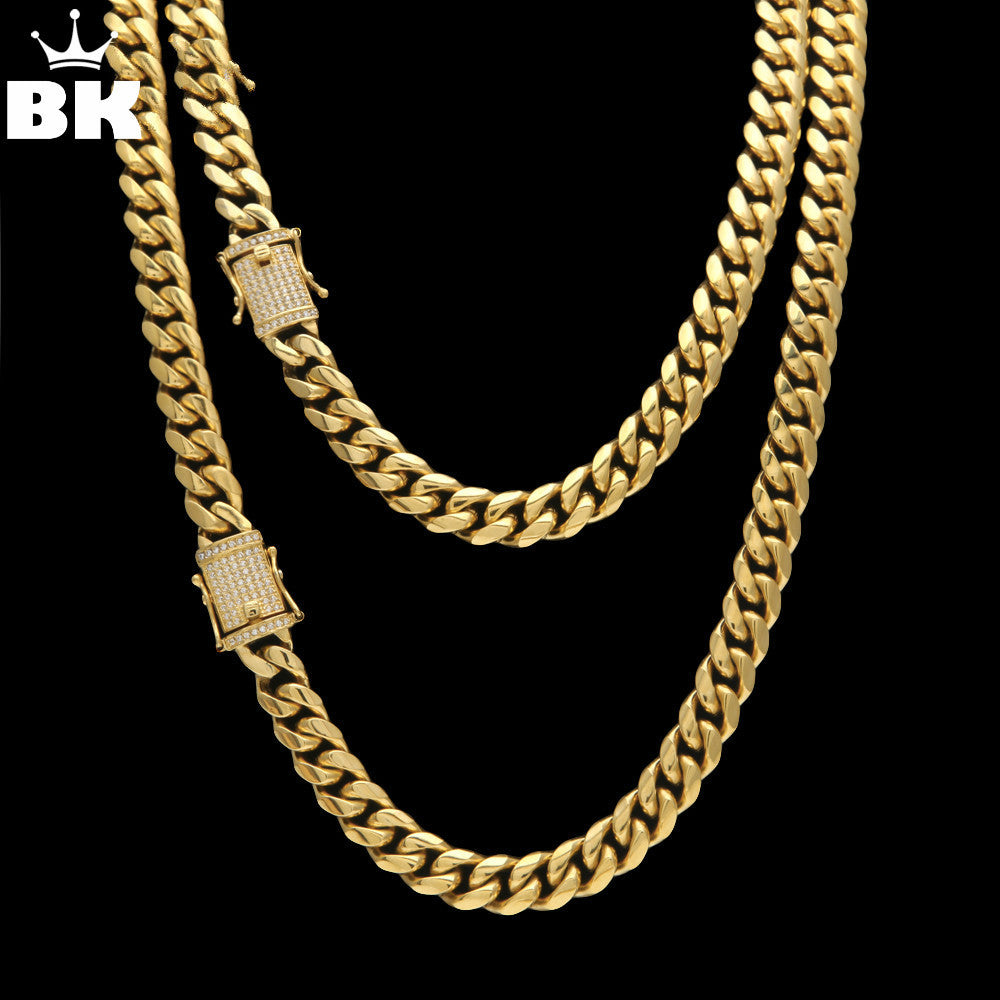 Stainless Steel CZ Chain Necklace - Gold & Silver