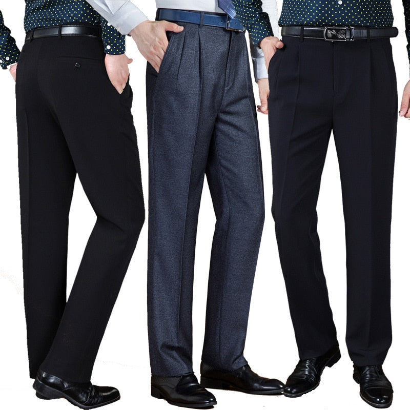 Double Pleated Business Trousers - High Waist Loose - 6 Colors