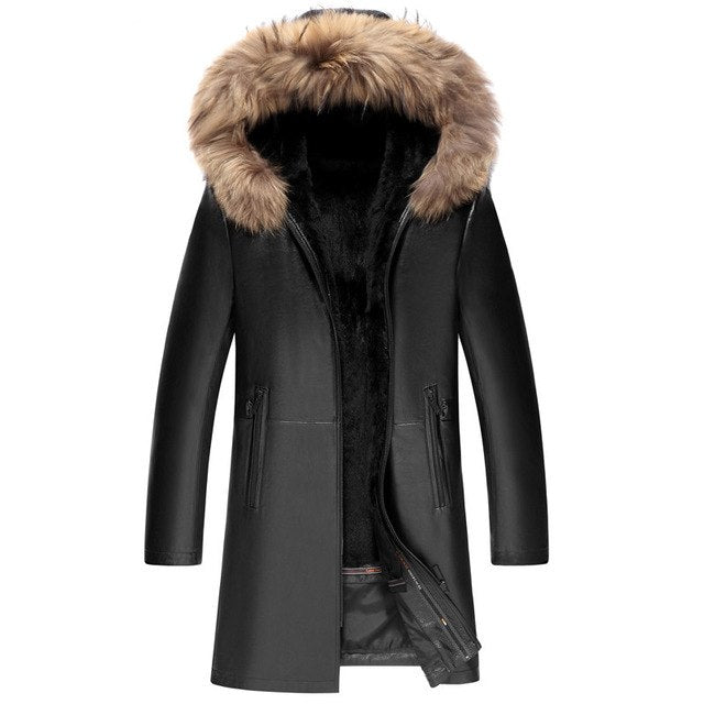 Cow Leather Jacket - Rabbit Fur - Raccoon Fur Collar - 2 Colors