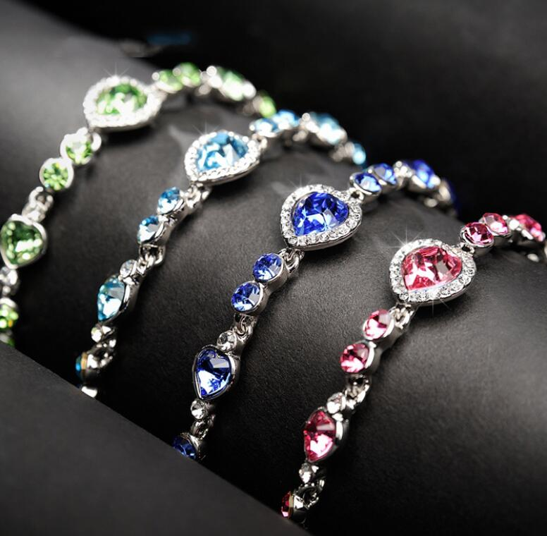 Sterling Silver Crystal Heart Marine Bracelet - 10 Colors