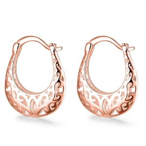 Filigree Leverback French Lock Earring - 18K Rose Gold Plated