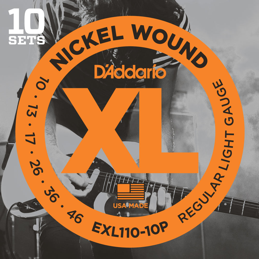 D'Addario EXL110-10P 10 Pack Regular Light Nickel Wound Electric Guitar Strings - 10-46 Gauge