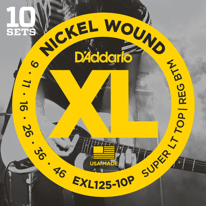 D'Addario EXL125-10P 10 Pack Super Light Top Regular Bottom Nickel Wound Electric Guitar Strings - 09-46 Gauge
