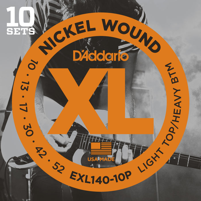 D'Addario EXL140-10P 10 Pack Light Top Heavy Bottom Nickel Wound Electric Guitar Strings - 10-52 Gauge