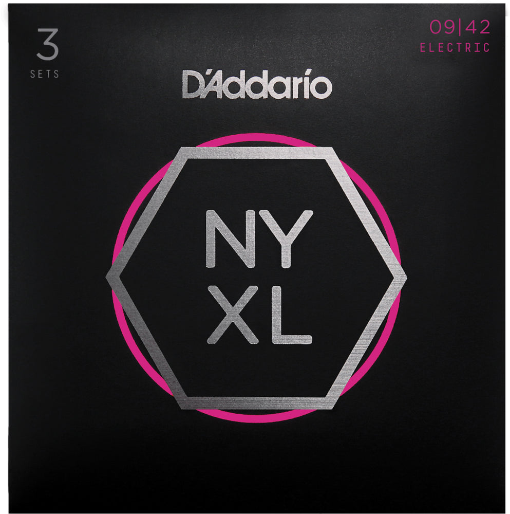 D'Addario NYXL0942 Super Light Nickel Wound Electric Guitar Strings 3 Pack - 9-42 Gauge