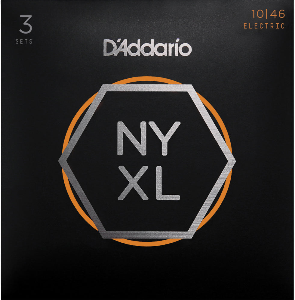 D'Addario NYXL1046 Regular Light Nickel Wound Electric Guitar Strings 3 Pack - 10-46 Gauge