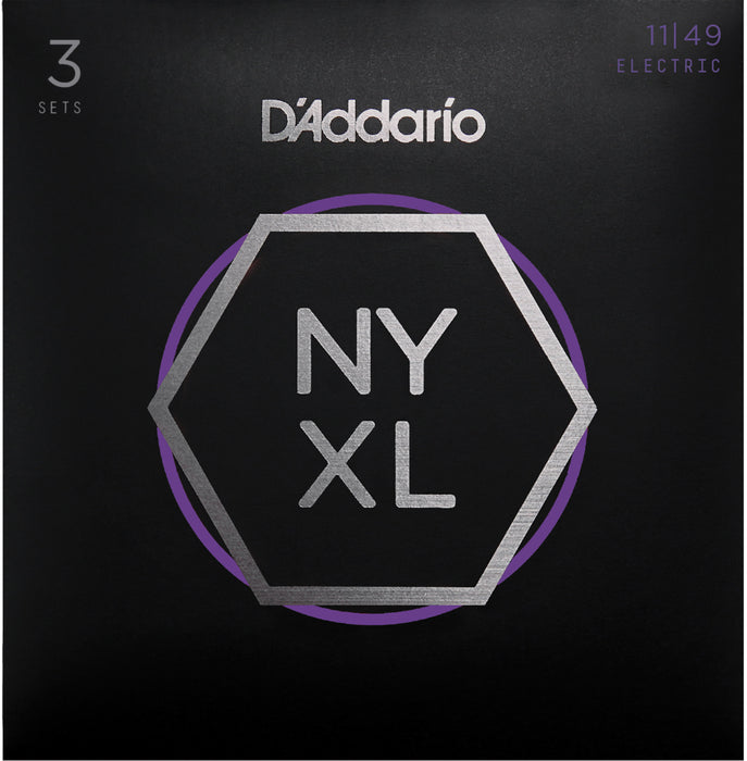 D'Addario NYXL1149 Medium Nickel Wound Electric Guitar Strings 3 Pack - 11-49 Gauge