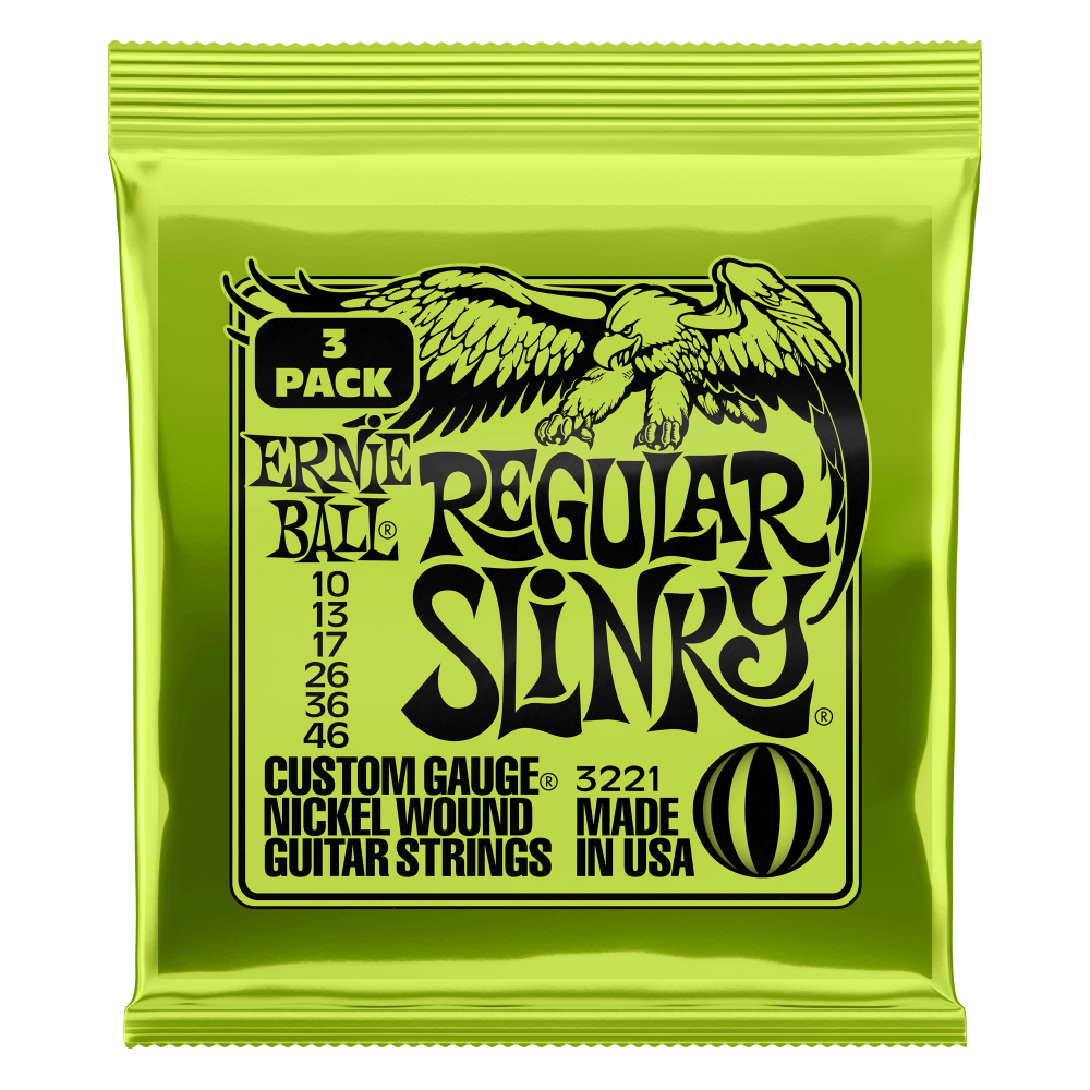 Ernie Ball Regular Slinky Nickel Wound Electric Guitar Strings 3 Pack - 10-46 Gauge
