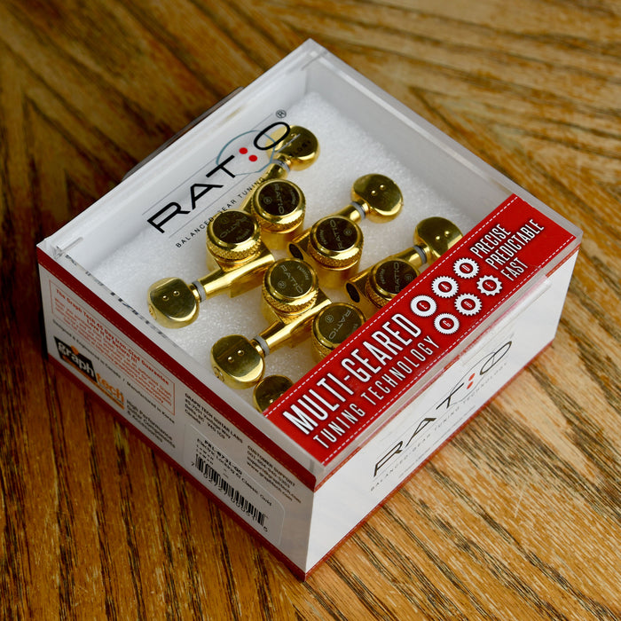 Graph Tech Ratio Locking Tuned Machine Heads - 6 In Line Classic Gold