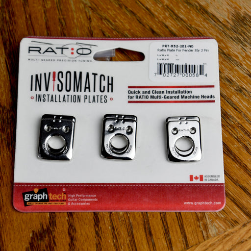 Graph Tech Ratio InvisoMatch Premium Mounting Plates For Fender Style 2 Pin Hole - Nickel