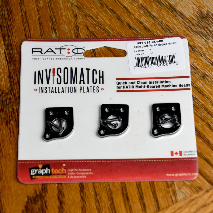 Graph Tech Ratio InvisoMatch Premium Mounting Plates For 45 Degree Screw Hole - Black