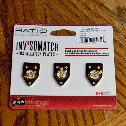 Graph Tech Ratio InvisoMatch Premium Mounting Plates For 90 Degree Screw Hole - Gold