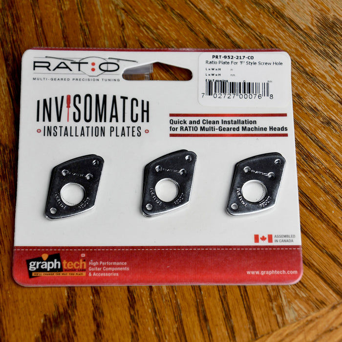 Graph Tech Ratio InvisoMatch Premium Mounting Plates For F Style Screw Hole - Chrome
