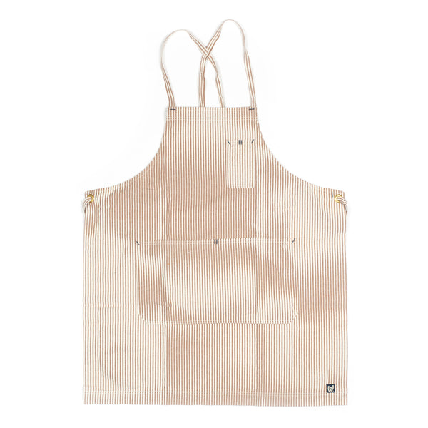 White Bark Coffee Brown / Natural Stripe Full Cross-Back Apron