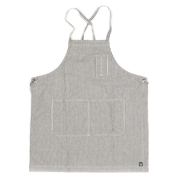 White Bark Indigo / Natural Striped Full Cross-Back Apron