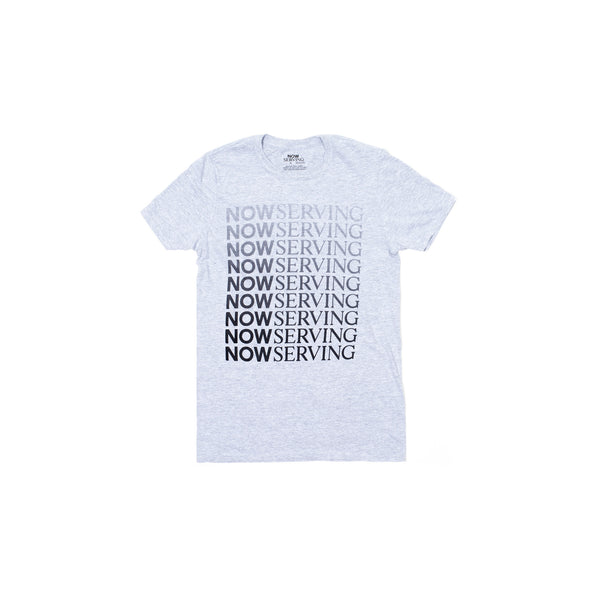 Now Serving Stacked Wordmark T-shirt Gray