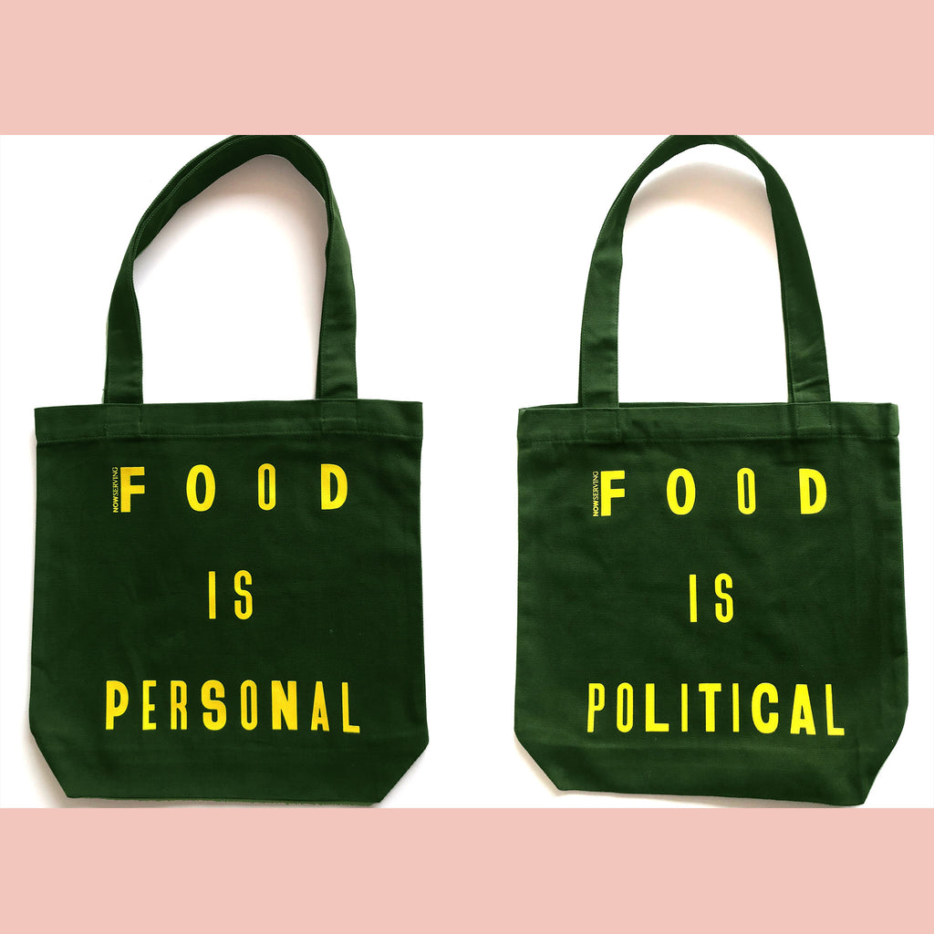 Now Serving: Food is Personal/Political Olive Tote Bag