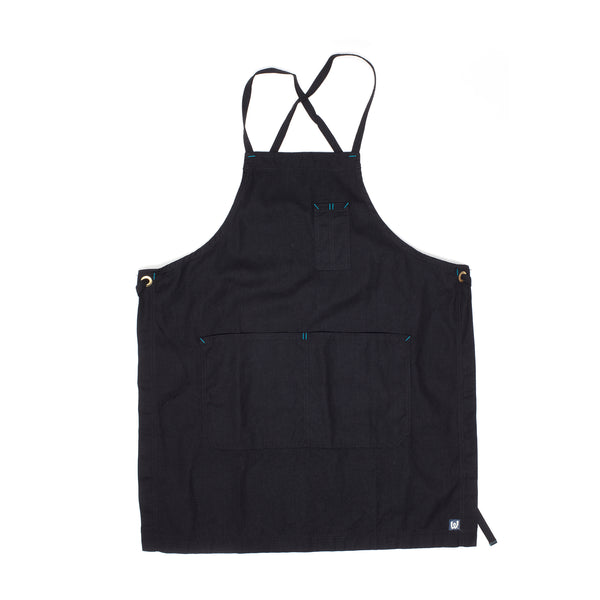 White Bark Black Cross-Back Apron