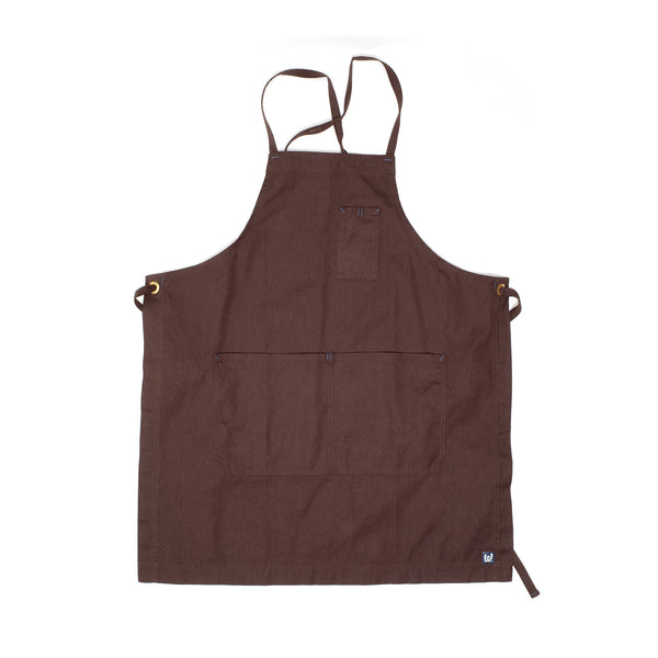White Bark Dark Brown Cross-Back Apron