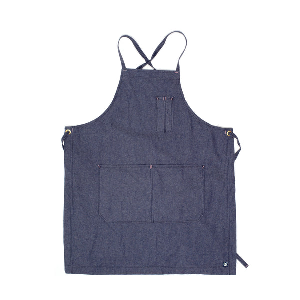 White Bark Heathered Blue Cross-Back Apron