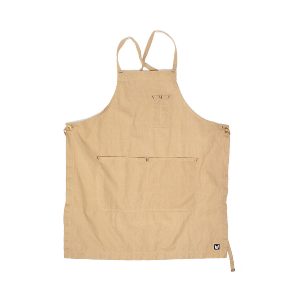 White Bark Khaki Cross-Back Apron