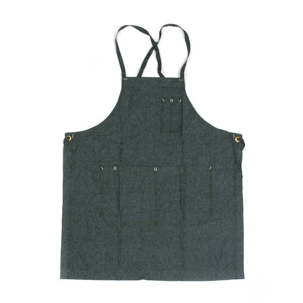 White Bark Moss Green Full Cross-Back Apron
