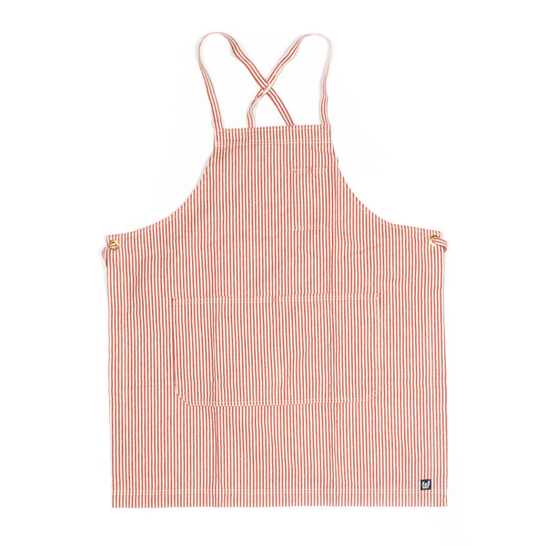 White Bark Red / Natural Striped Full Cross-Back Apron