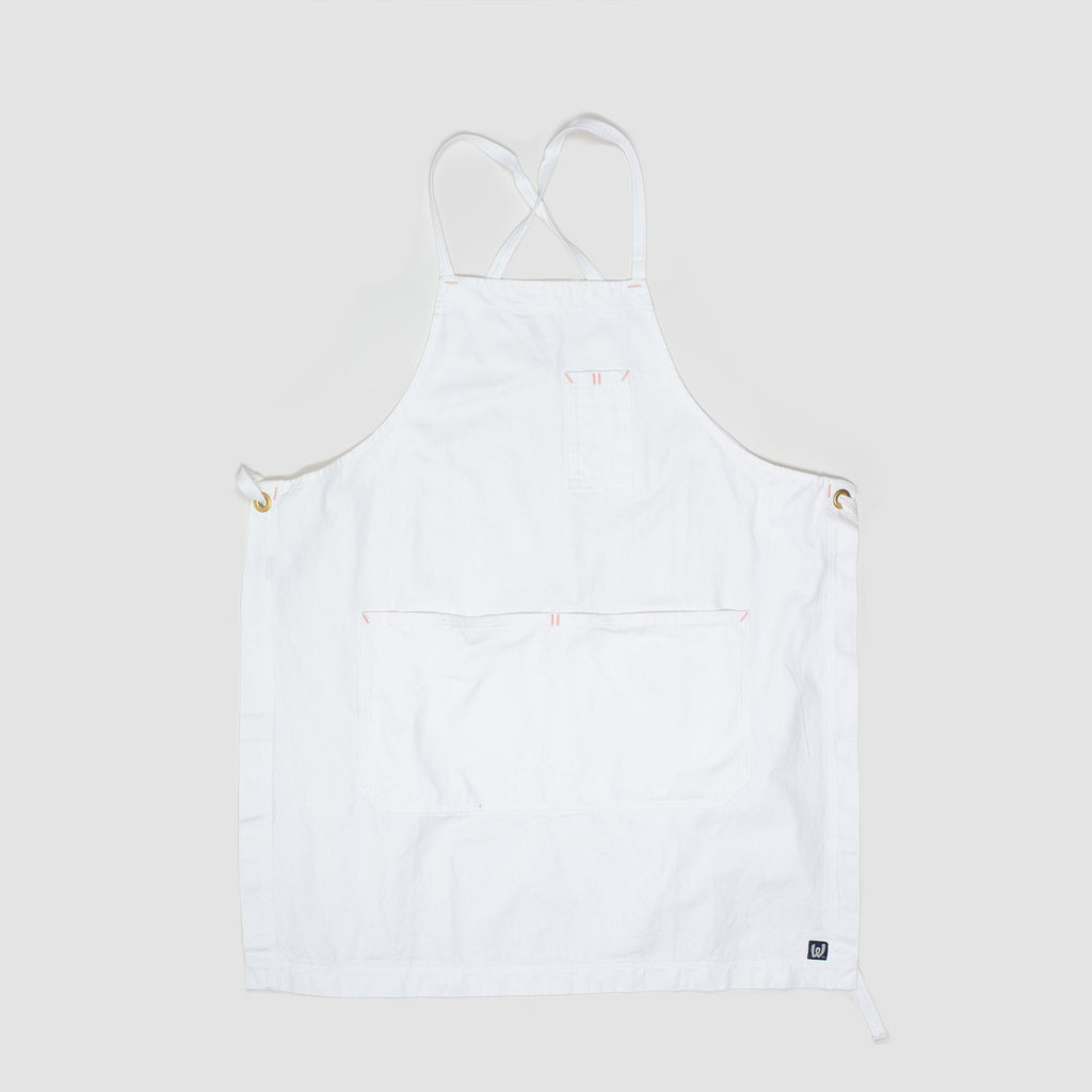White Bark White Cross-Back Apron