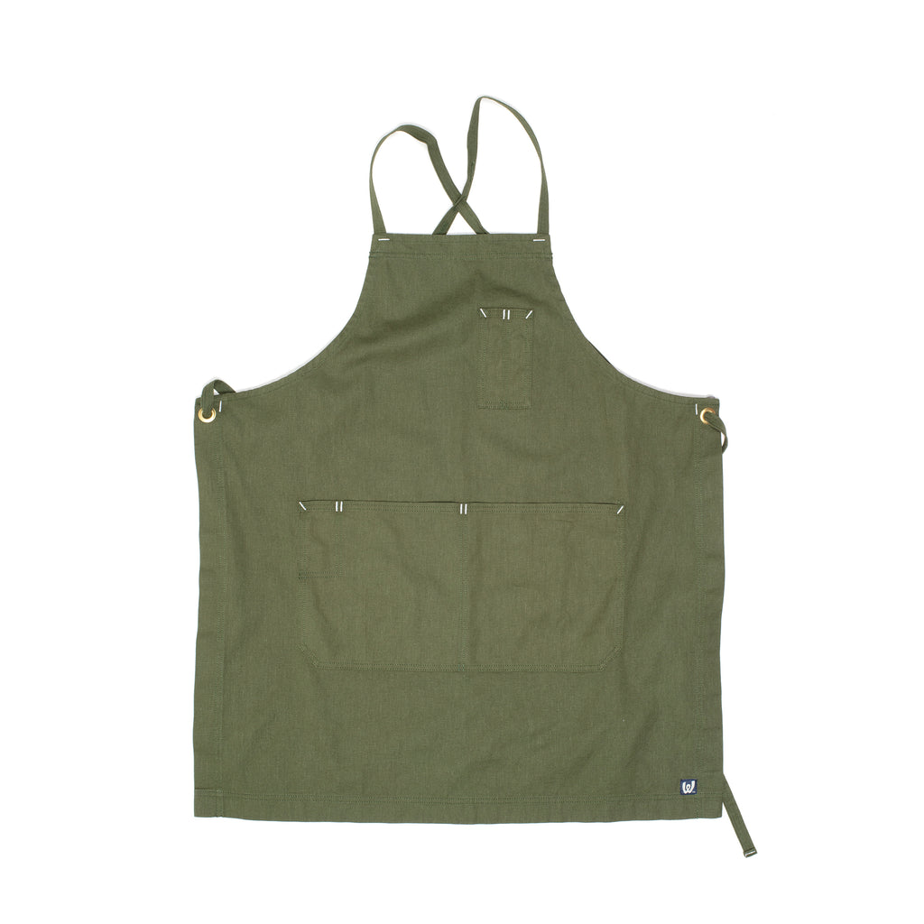 White Bark Dark Green Cross-Back Apron