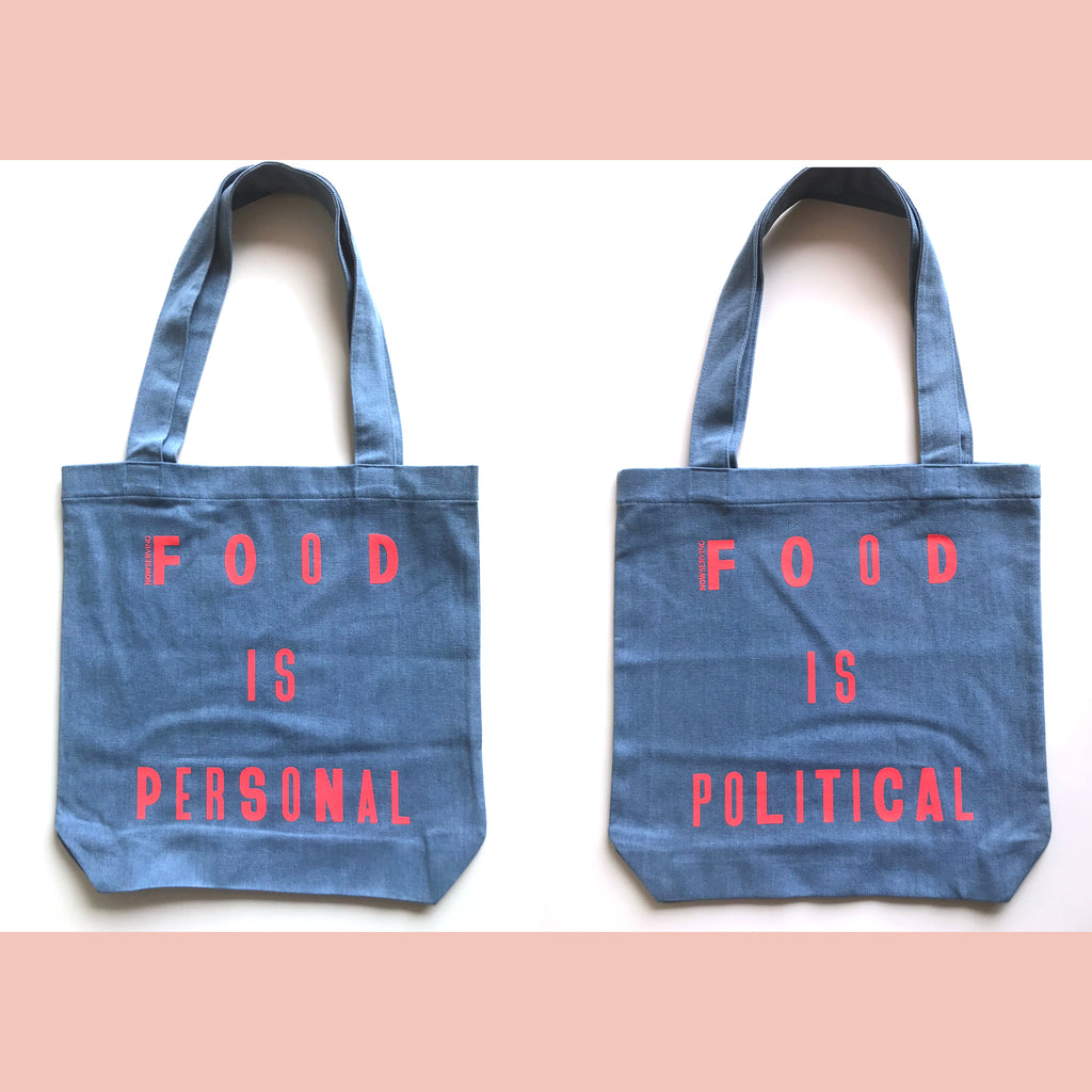 Now Serving: Food is Personal/Political Denim Tote Bag