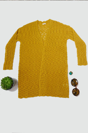 Slub Knit Cardigan Sweater