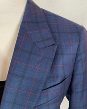 Load image into Gallery viewer, MICHELE Sport Coat-Super 130's Blue Plaid with Raspberry Windowpane