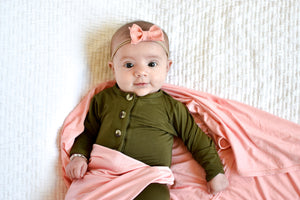 Little Luna Company, Knit Swaddle in Bloom and Knotted Gowns in Ivy
