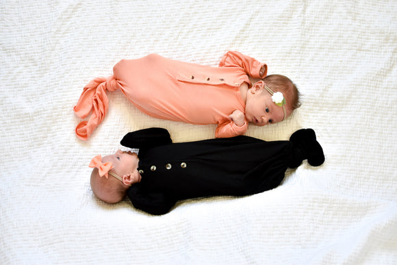 Little Luna Company, Knotted Gowns in Sunset and Onyx