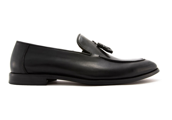 Paolo Napa Leather Tassel Loafers - Ebony - Gaius Walks