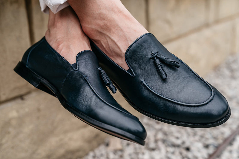 Paolo Napa Leather Tassel Loafers - Indigo - Gaius Walks