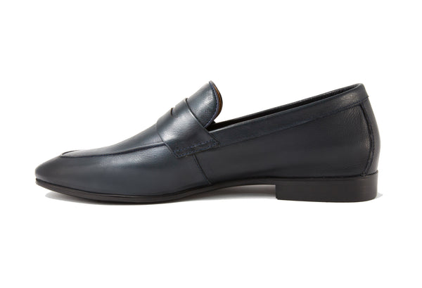 Santo Napa Leather Penny Loafers - Indigo - Gaius Walks